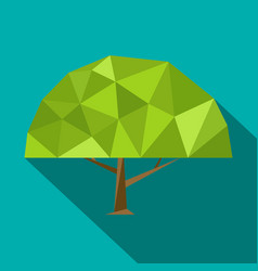 set polygonal flat trees with different crowns and vector image