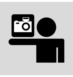 Silhouette man sign camera media design vector