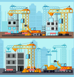 Sky scraper construction flat compositions vector