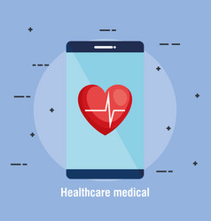 smartphone with telemedicine icons vector image