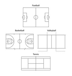 sport fields outline vector image