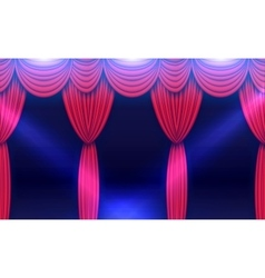 Stage Curtain with Spotlights and Shining Floor vector image