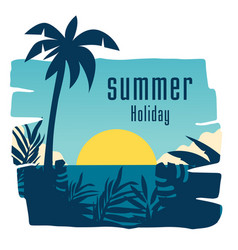 Summer holiday sunset jungle leaves coconut tree b vector