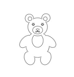 teddy bear sign black dotted vector image