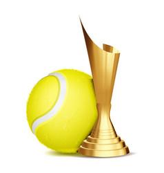 tennis game award tennis ball golden cup vector image