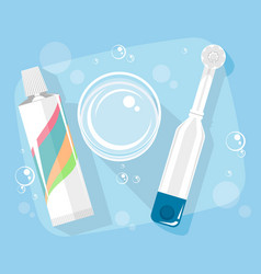 toothpaste and electric toothbrush vector image