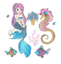 underwater easter mermaid holiday set vector image
