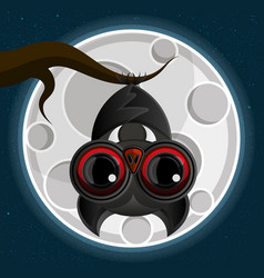 vampire bat hanging from a spooky tree with a vector image