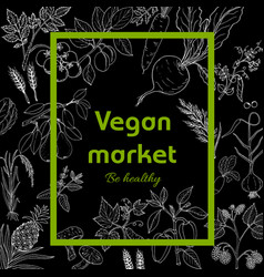 vegan farmer market card with fresh vegetables vector image