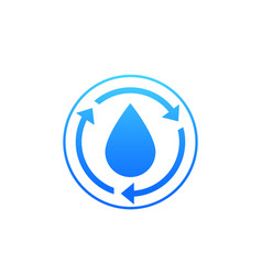 Water recycle icon on white vector