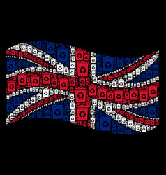 Waving great britain flag collage of recycle bin vector
