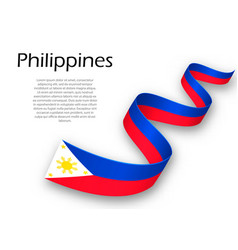 Waving ribbon or banner with flag of philippines vector