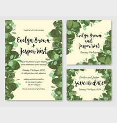 wedding invitation frame set leaves branches vector image