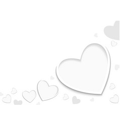white valentine background with hearts vector image