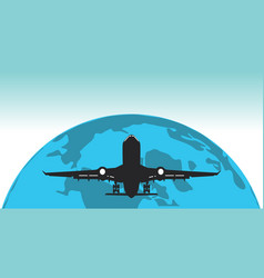 world globe travel badge with background airplane vector image