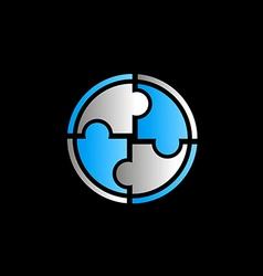 circle round puzzle logo vector image