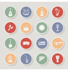 Round Musical Instruments Icons vector image