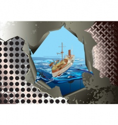 steel background with warship vector image vector image