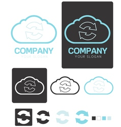 Sync Cloud Computing company logo template vector image