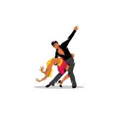 Two elegance tango dancers sign vector image vector image