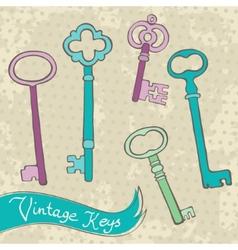 Collection of retro keys vector
