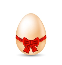Easter paschal egg with red bow isolated on white vector image