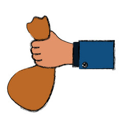hand holding bag gesture vector image vector image