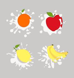lemon orange apple vector image vector image
