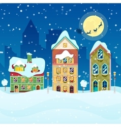 Merry Christmas Cityscape with Snowfall Houses vector image