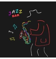 Neon Sign Saxophone Jazz vector image vector image