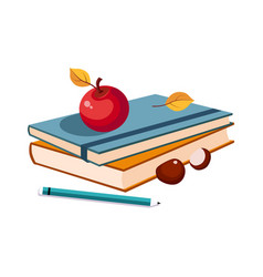 notebooks apple and pencil set of school and vector image