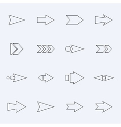 Set hollow arrows on a light background vector image vector image
