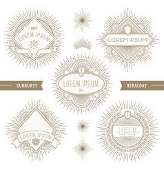 Set of line heraldic emblems with sunburst vector image vector image