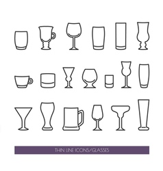 Set with thin line icons with glasses vector image vector image