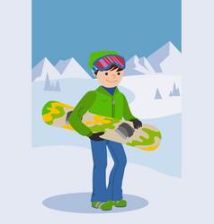 smiling snowboarder man in winter ski sportswear vector image