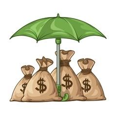 Umbrella protecting sacks vector image vector image