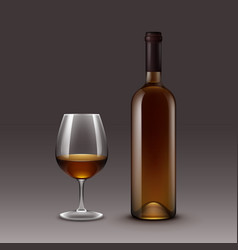 wine bottles and glasses isolated on background vector image