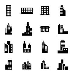 black building icon set vector image vector image