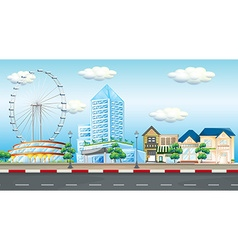 City scene with ferris wheel and buildings vector image vector image
