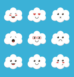 flat design cartoon cute cloud character vector image vector image