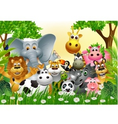 funny animal cartoon in the jungle vector image