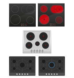 set surface for electric and gas stove vector image