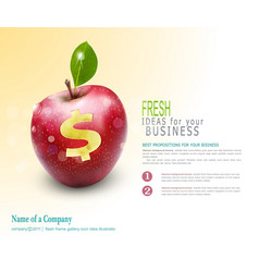 template for business apple with cut dollar sign vector image