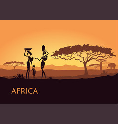 african woman on sunset background vector image