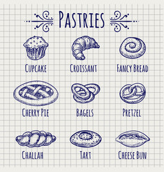 bakery products set on notebook page vector image vector image