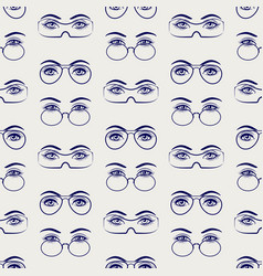 female eyes with glasses seamless pattern vector image