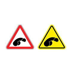 Warning sign attention penis Hazard yellow sign vector image