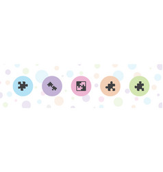 5 jigsaw icons vector