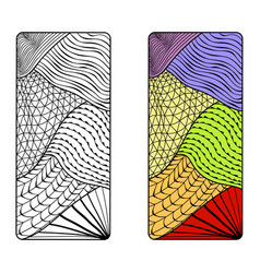 abstract from doodling and zentangle coloring vector image