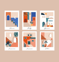 Abstract places villages small streets old vector